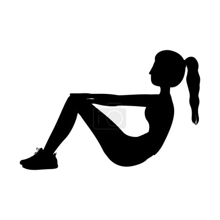 silhouette with woman exercise abs