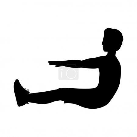 silhouette with man exercise abs