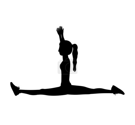 silhouette with woman yoga splits