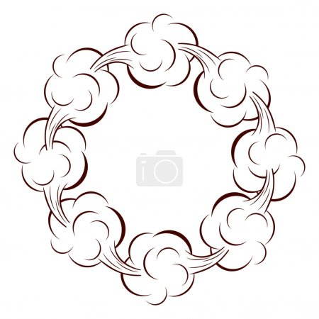 circular shape with cumulus clouds