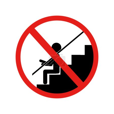 forbidden sign sitting down stairs