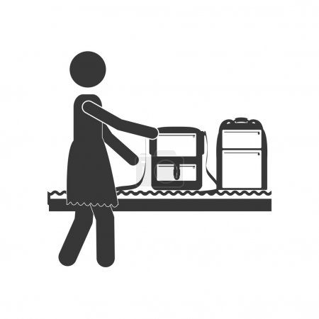 silhouette woman with luggage conveyor belt