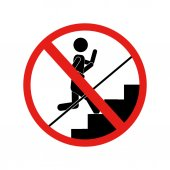 forbidden sign running up the stairs