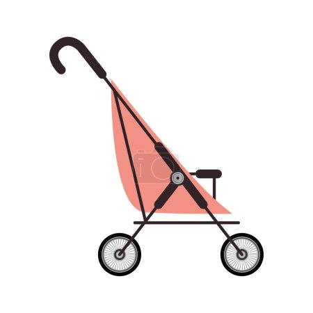 simple pink baby carriage and wheels