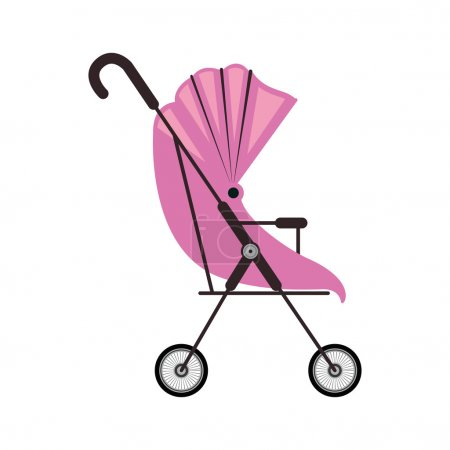 cute baby carriage with pink soft top