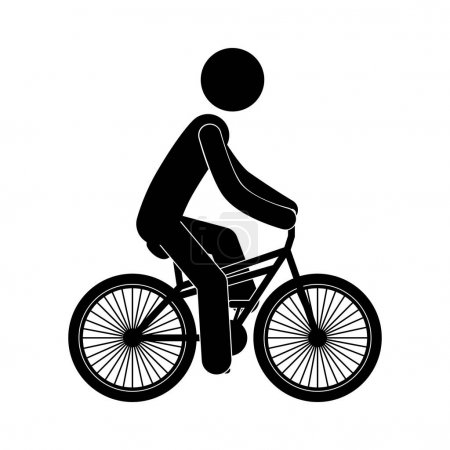 black silhouette person in bicycle