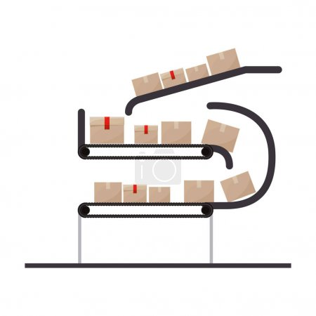 Illustration for Conveyor belt with sealed packages vector illustration - Royalty Free Image