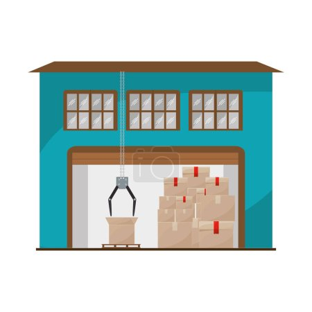 storage cellar with packages and crane mechanics