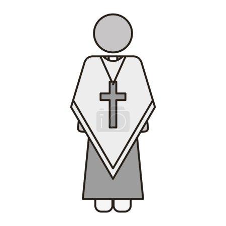 Illustration pour Prêtre ou révérend homme avec des icônes religieuses catholiques chrétiennes sur fond blanc. illustration vectorielle - image libre de droit