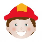 Child dressed as firefighter icon image vector illustration design