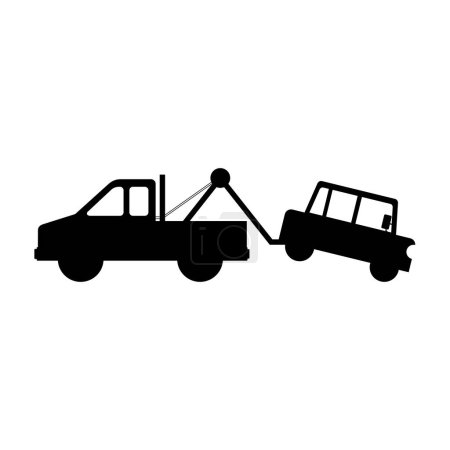 Illustration for Silhouette of tow truck with car icon over white background. vector illustration - Royalty Free Image