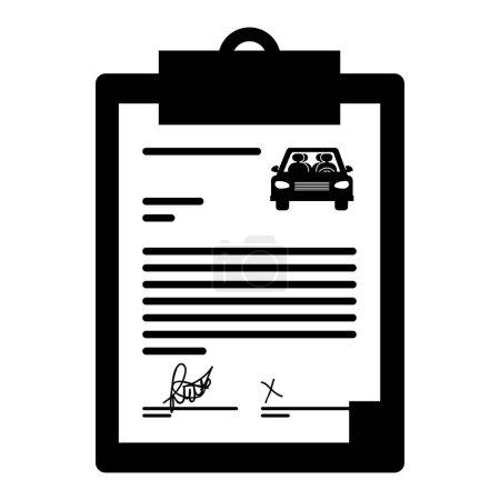 Illustration pour Table de rapport avec louer une icône de document de voiture sur fond blanc. illustration vectorielle - image libre de droit