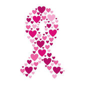ribbon pink symbol of breast cancer with hearts