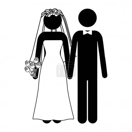 pictogram of wedding couple with costumes