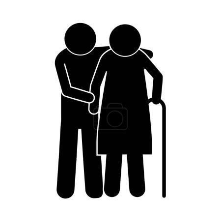 Piktogramm älteres Ehepaar mit Gehstock