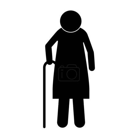 Ikone Silhouette ältere Frau mit Gehstock