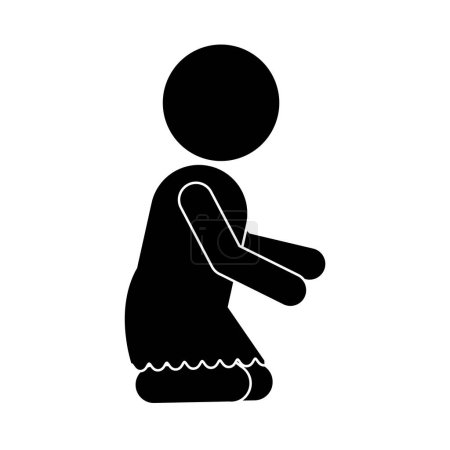 pictogram of little baby girl kneeling