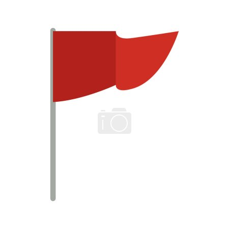 Red Flag Waving in the Wind on Pole