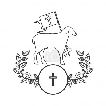 Isolated religion sheep design