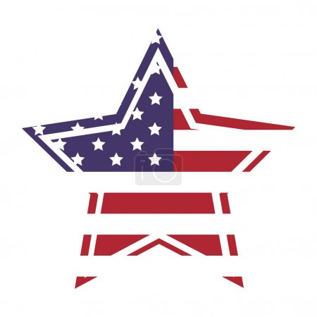 American flag star icon with outline