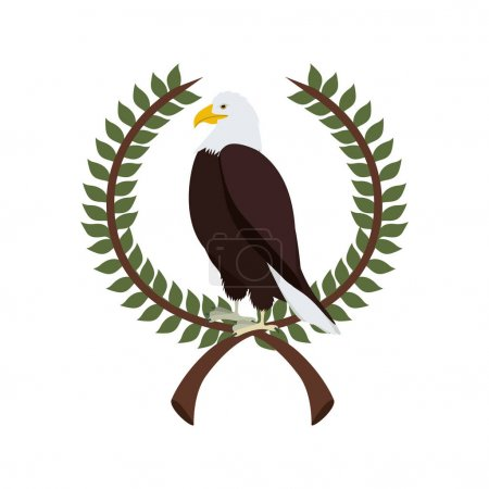 eagle in crown formed with olive branch