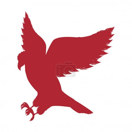 red silhouette eagle hunting icon