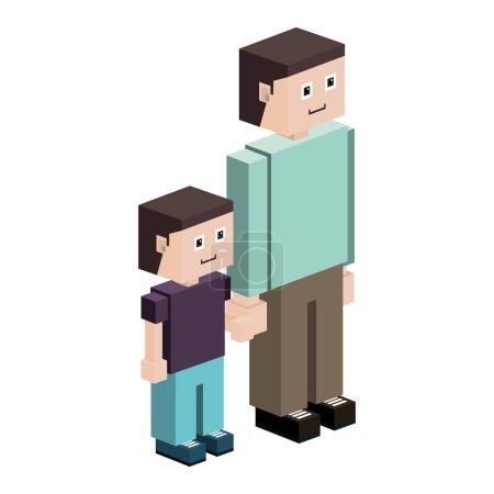 Illustration pour Silhouette lego avec illustration vectorielle père et fils - image libre de droit