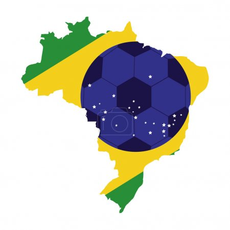 colorful silhouette with brazil map