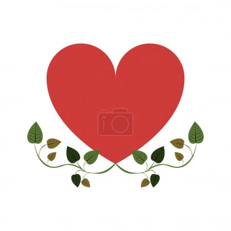 Heart with border creepers of leaves vector illust...