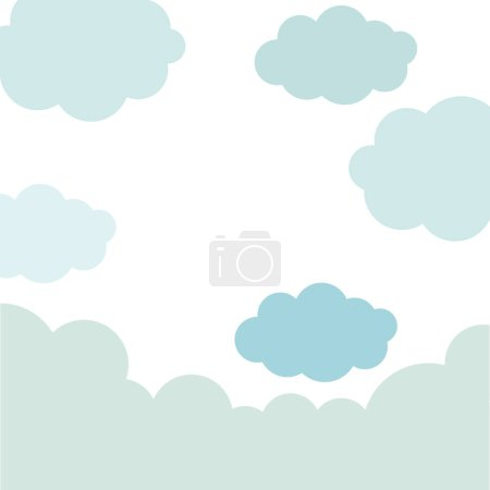 Illustration for Pattern sky with blue clouds vector illustration - Royalty Free Image