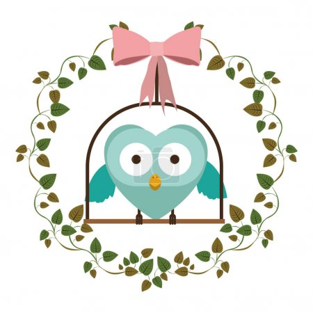 Illustration for Border of creepers with owl in swing vector illustration - Royalty Free Image