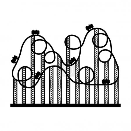 silhouette roller coaster in amusement park