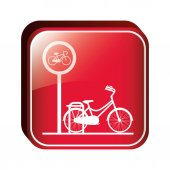 Square button bicycle parking area vector illustration