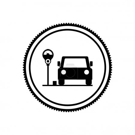 silhouette seal parking area for vehicles with parking meter