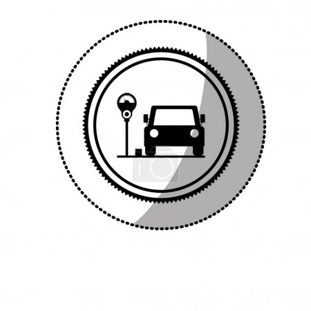dotted sticker with parking area for vehicles with parking meter