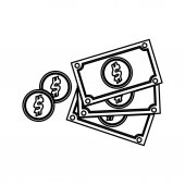 Billets and coins icon vector illustration graphic design