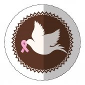 symbol dove with breast cancer ribbon in the peak
