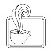 figure small squard symbol of coffee cup