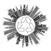 Figure city with build and help environment icon