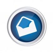 blue emblem open message envelope icon