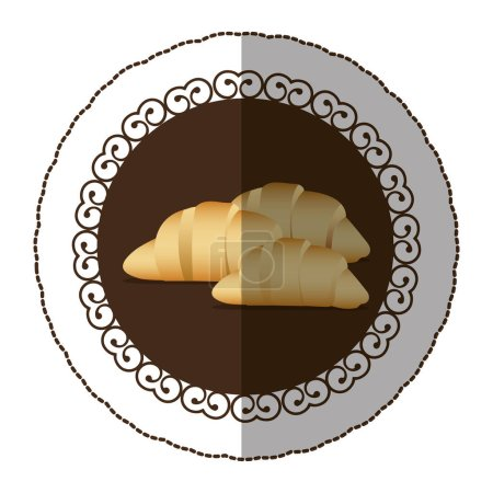 emblem color croissant bread icon