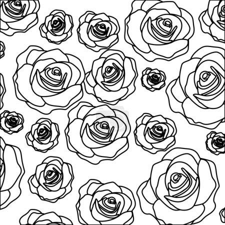 Illustration for Silhouette pattern bud roses floral design vector illustration - Royalty Free Image