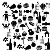 black silhouette set elements daily life icon