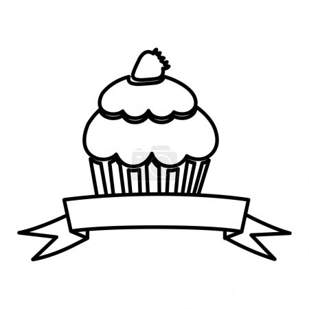 figure muffin with strawberry and ribbon icon