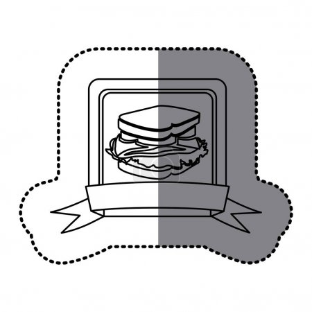 white emblem sandwich fast food icon