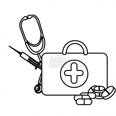silhouette suitcase health with stethoscope, syringe and treatment