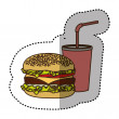 Color hamburger and soda flat icon, vector illustr...