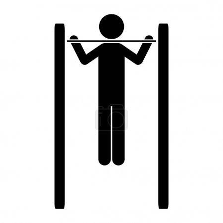 monochrome pictogram of gymnastic training in horizontal bar