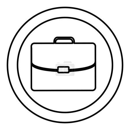 Silhouette circular frame with silhouette briefcase executive icon