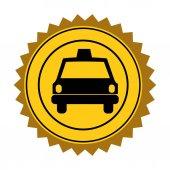 color circular seal of taxi car